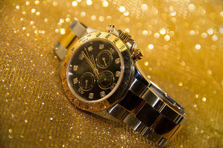 Gold Luxury Watch on Gold Background