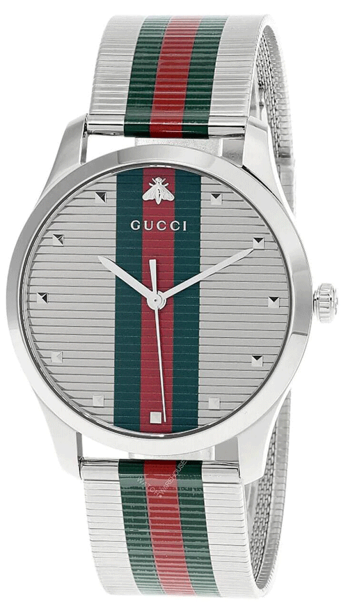 A silver Gucci watch with red and green stripes