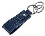 Navy Blue Leather Keychain