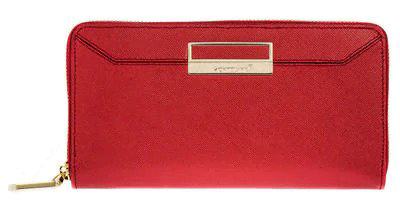 A red calfskin leather Montblanc wallet