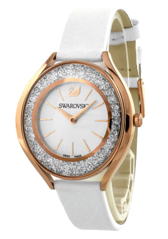 swarovski crystalline leather watch